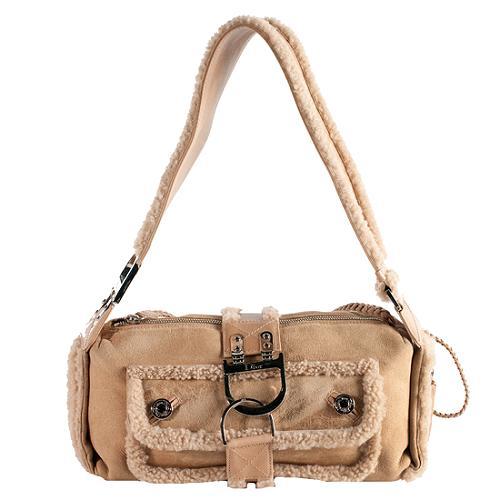 Dior Shearling Flight East/West Shoulder Handbag