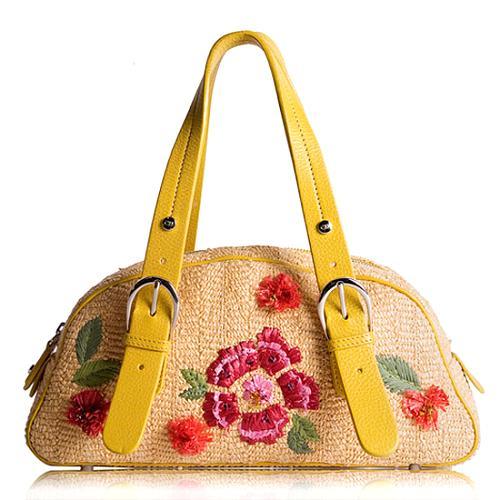 Dior Straw Embroidered Flowers Satchel Handbag