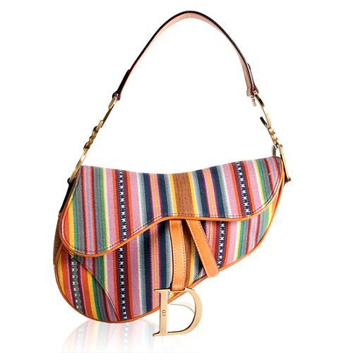 Dior Stripe Saddle Shoulder Handbag