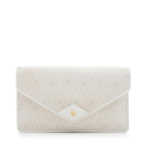 Dior Vintage Coated Canvas Logo Envelope Clutch - FINAL SALE