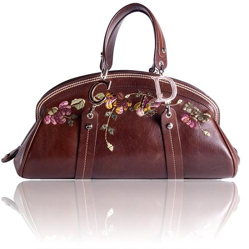 Dior Vintage Flowers Embroidered Satchel Handbag
