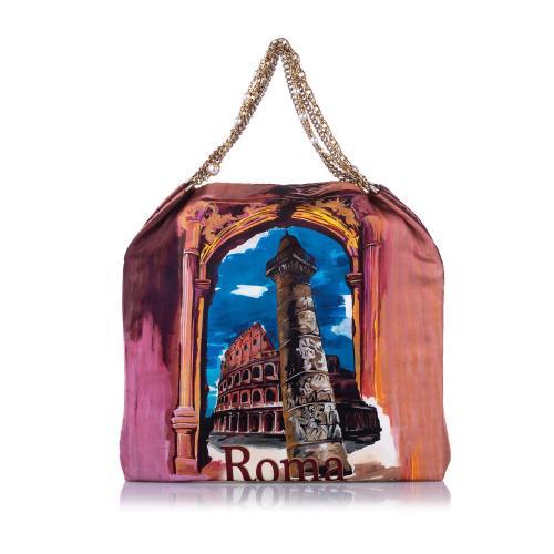 Dolce & Gabbana Anita Roma Printed Silk Tote Bag