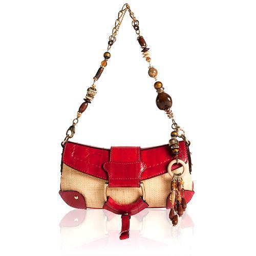 Dolce & Gabbana Eel & Straw Bruciato Shoulder Handbag