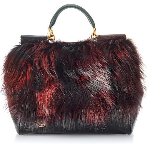 Dolce   Gabbana Large  Miss Mamma  Silver Fox Top Handle Handbag 42843e0737191