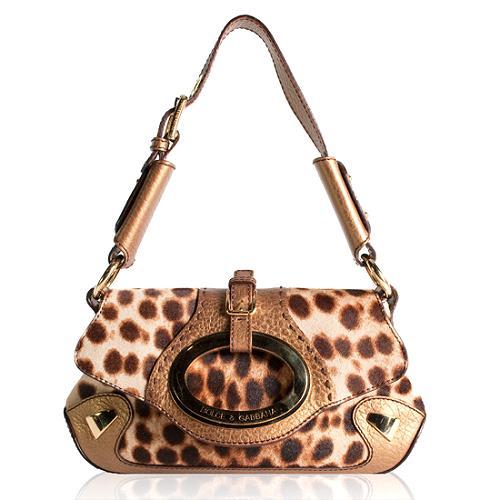Dolce & Gabbana Leopard Pony Hair Shoulder Handbag