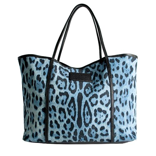 Dolce Gabbana Leopard Print Denim Miss Escape Tote
