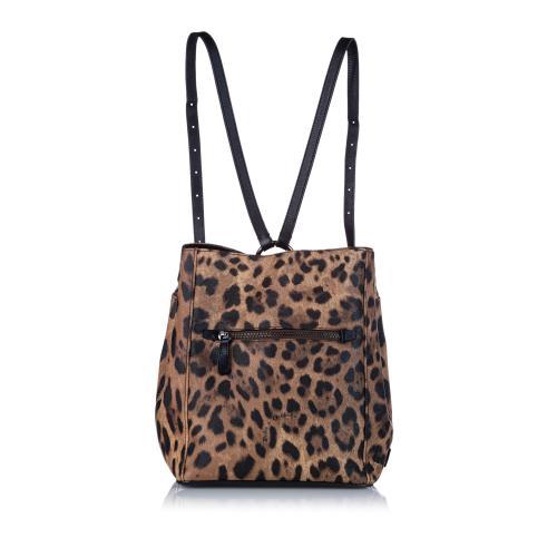 Dolce & Gabbana Leopard Print Leather Backpack