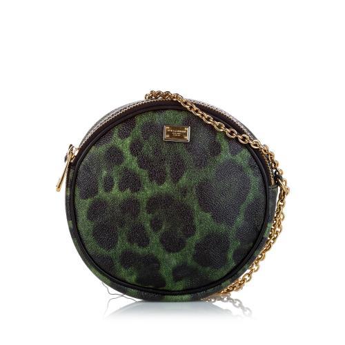 Dolce & Gabbana Leopard Print Leather Crossbody Bag