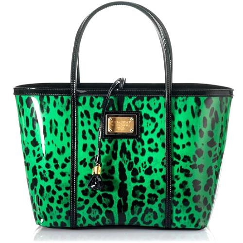 Dolce & Gabbana Leopard Printed Patent Leather East/West Tote