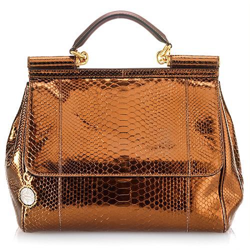 Dolce & Gabbana Medium Miss Mamma Python Satchel Handbag