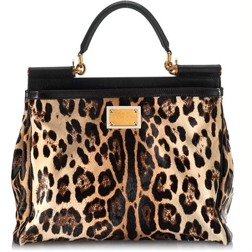 Dolce & Gabbana Medium Miss Sicily Leopard Shopper Tote