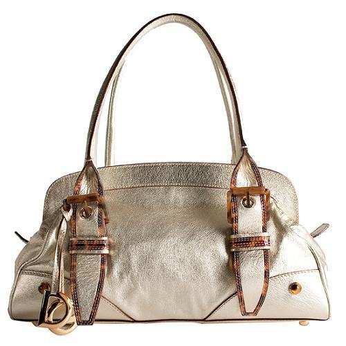 Dolce & Gabbana Metallic Leather Satchel Handbag