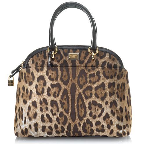Dolce & Gabbana Miss Brigitte Leopard Printed Denim Handbag