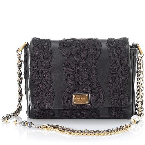 Dolce & Gabbana Miss Charles Appliqued Lace Shoulder Handbag