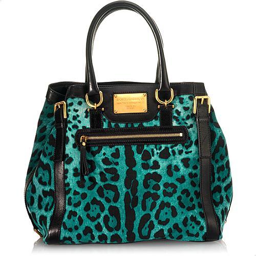 Dolce & Gabbana Miss Easy Way Leopard Printed Denim Tote