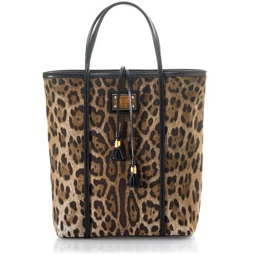 Dolce & Gabbana Miss Escape Leopard Printed Denim North/South Tote