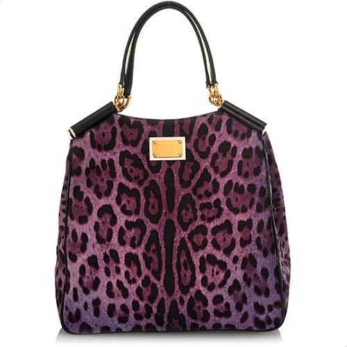 Dolce & Gabbana Miss Sicily Leopard Printed Denim Shopper Tote