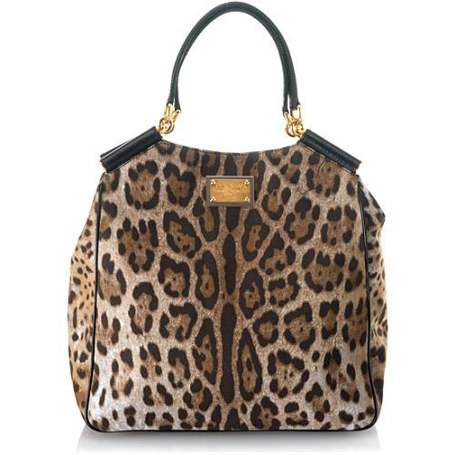 f5bc292e238 Dolce & Gabbana 'Miss Sicily' Leopard Printed Denim Shopper Tote