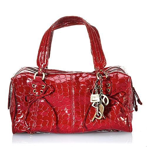 Donald J Pliner Croco Patent Leather Satchel Handbag