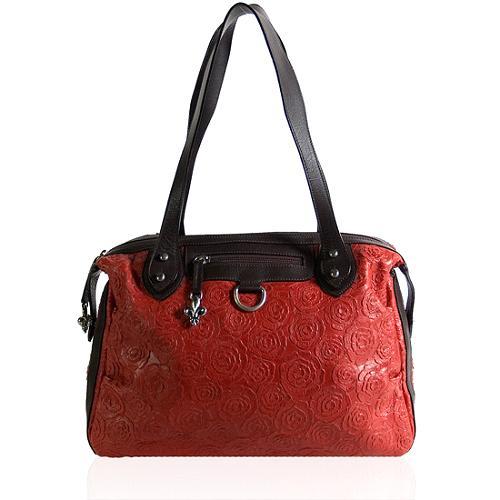 Donald J Pliner Rose Embossed Leather Satchel Handbag