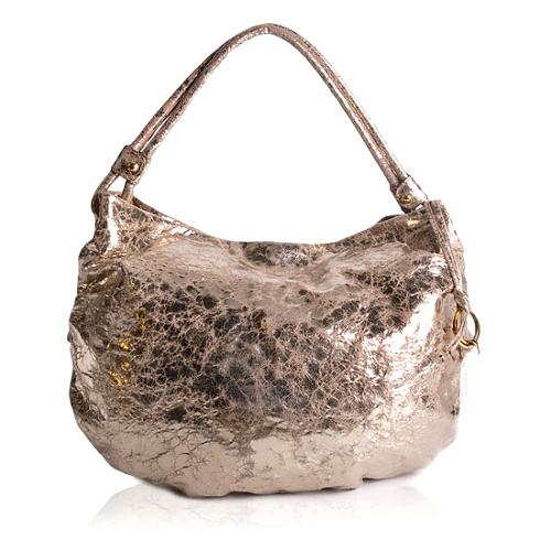Donna Karan Metallic Leather Hobo Handbag