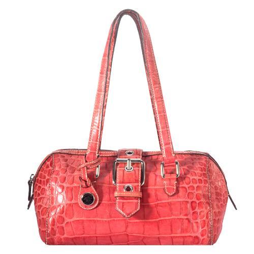 Dooney & Bourke Croc Embossed Buckle Satchel Handbag