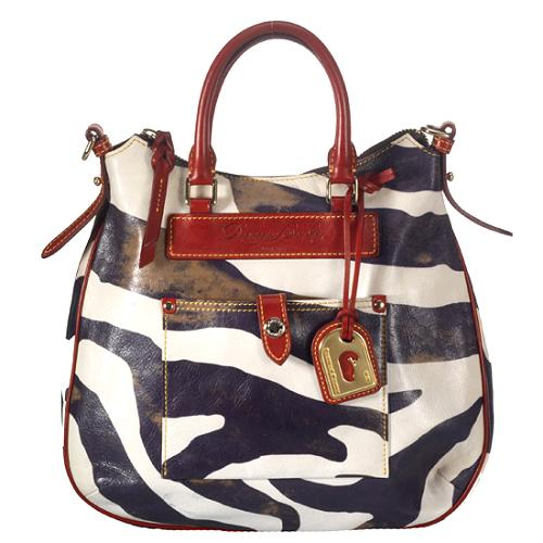 Dooney & Bourke Distressed Leather Zebra Print Tear Drop Hobo Handbag