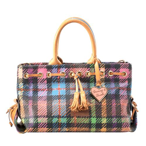 Dooney & Bourke Plaid Large Tassel Top Zip Tote
