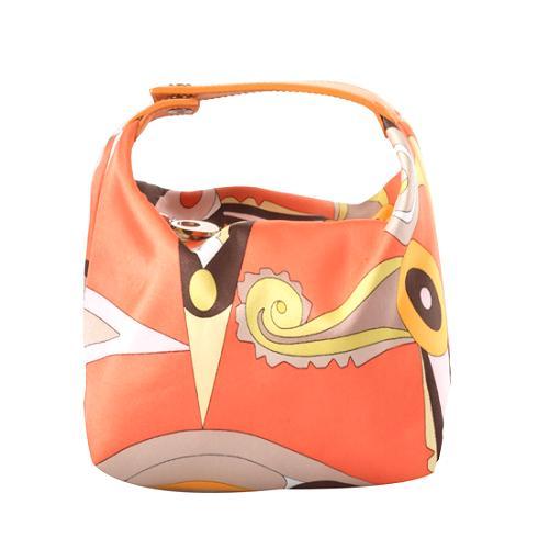 Emilio Pucci Satin Pouchette Satchel Handbag