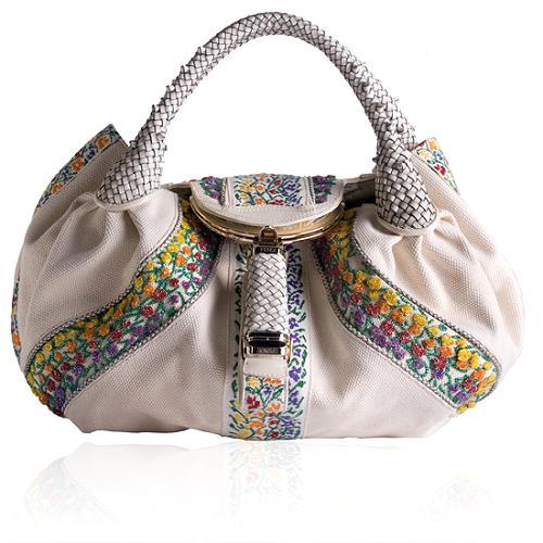 Fendi Beaded Canvas Spy Satchel Handbag