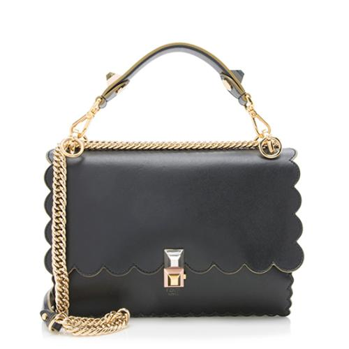 Fendi Calfskin Studded Kan I Shoulder Bag