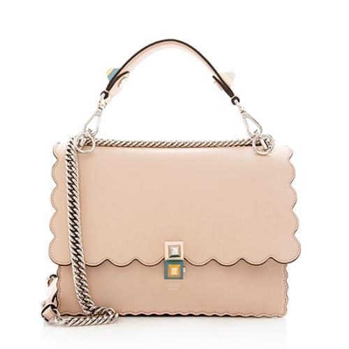 Fendi Calfskin Studded Medium Kan I Shoulder Bag