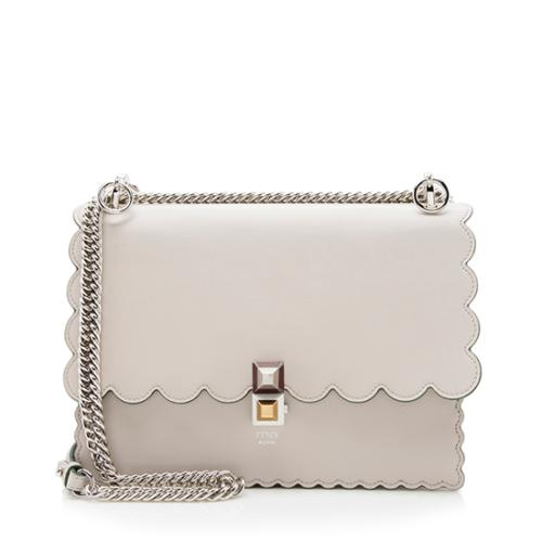 Fendi Calfskin Studded Medium Kan I Shoulder Bag