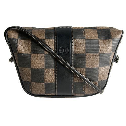 Fendi Checked Coated Canvas Small Shoulder Handbag
