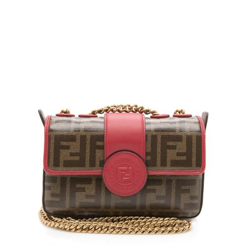 Fendi Coated Canvas 1974 Double F Mini Shoulder Bag