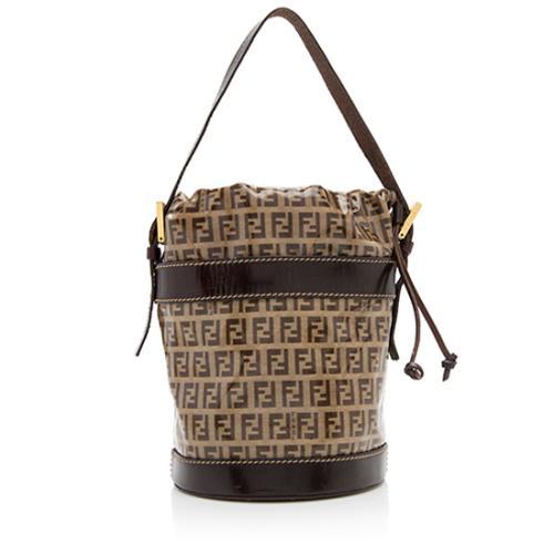Fendi Coated Canvas Zucchino Bucket Drawstring Shoulder Bag