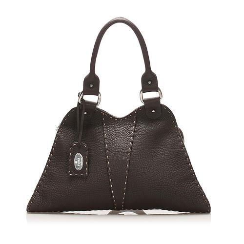 Fendi Devil Trapezio Leather Tote Bag