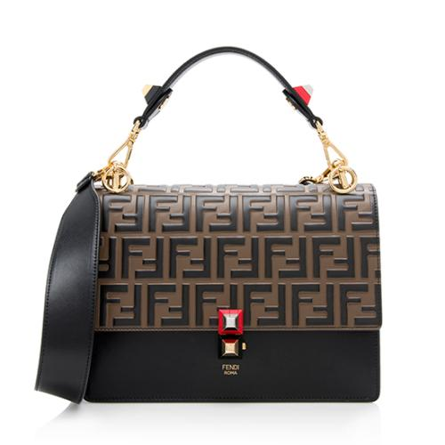 Fendi Embossed FF Calfskin Medium Kan I Shoulder Bag