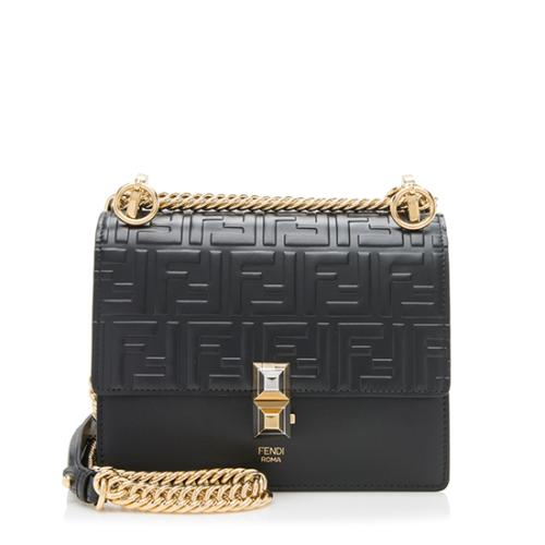Fendi FF Embossed Calfskin Kan I Small Shoulder Bag