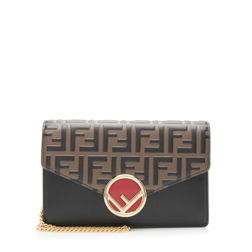 Fendi FF Embossed Calfskin Wallet on Chain Mini Bag