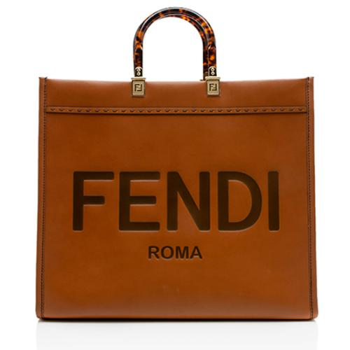 Fendi Embossed Leather Roma Shopper Tote