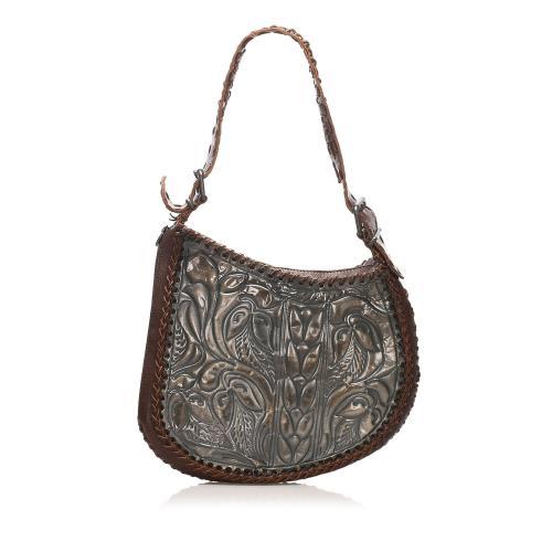 Fendi Embossed Oyster Leather Shoulder Bag