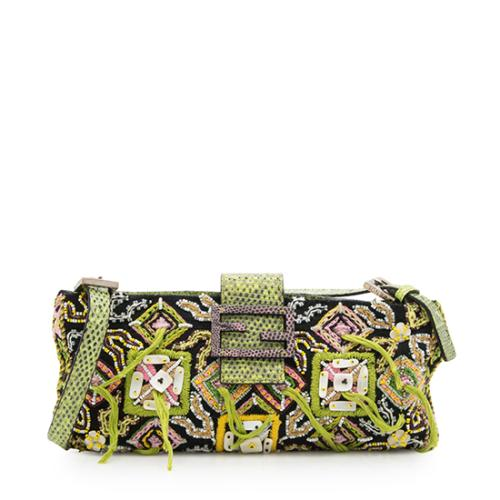 e28fab391370 ... coupon code for fendi embroidered beaded lizard shoulder bag 04be0 c4711