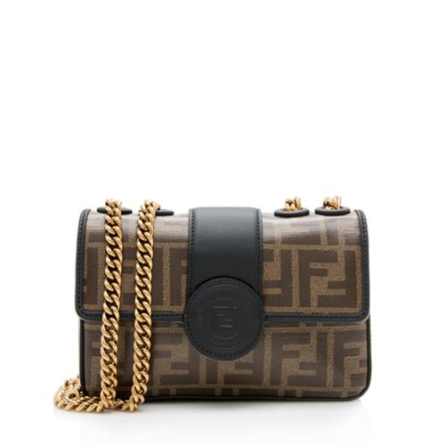Fendi FF Coated Canvas 1974 Double F Mini Shoulder Bag