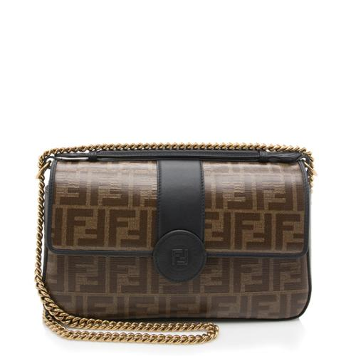 Fendi FF Coated Canvas Double F Shoulder Bag