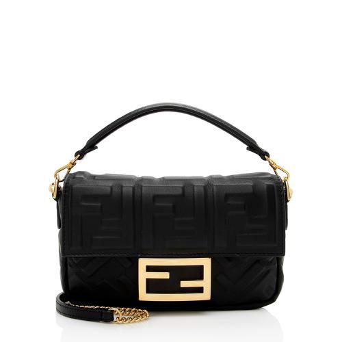 Fendi FF Embossed 1974 Mini Baguette Shoulder Bag