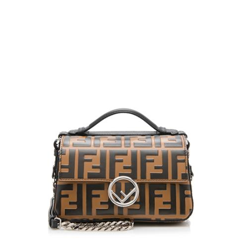 Fendi FF Embossed Calfskin Double Micro Baguette Bag