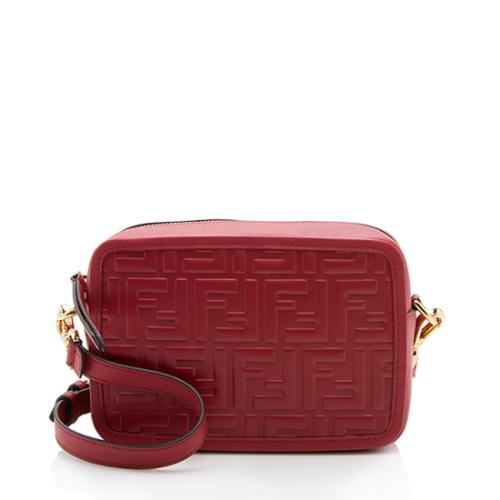 Fendi FF Embossed Calfskin Mini Camera Bag