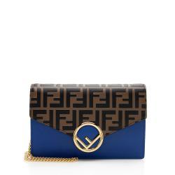 Fendi FF Embossed Calfskin Wallet on Chain Mini Bag