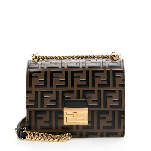 Fendi FF Embossed Kan I Small Shoulder Bag